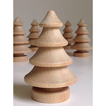 Set of 5 Unfinished Wood 3D Christmas Trees, 2.75 Inches Tall, by My Craft Supplies
