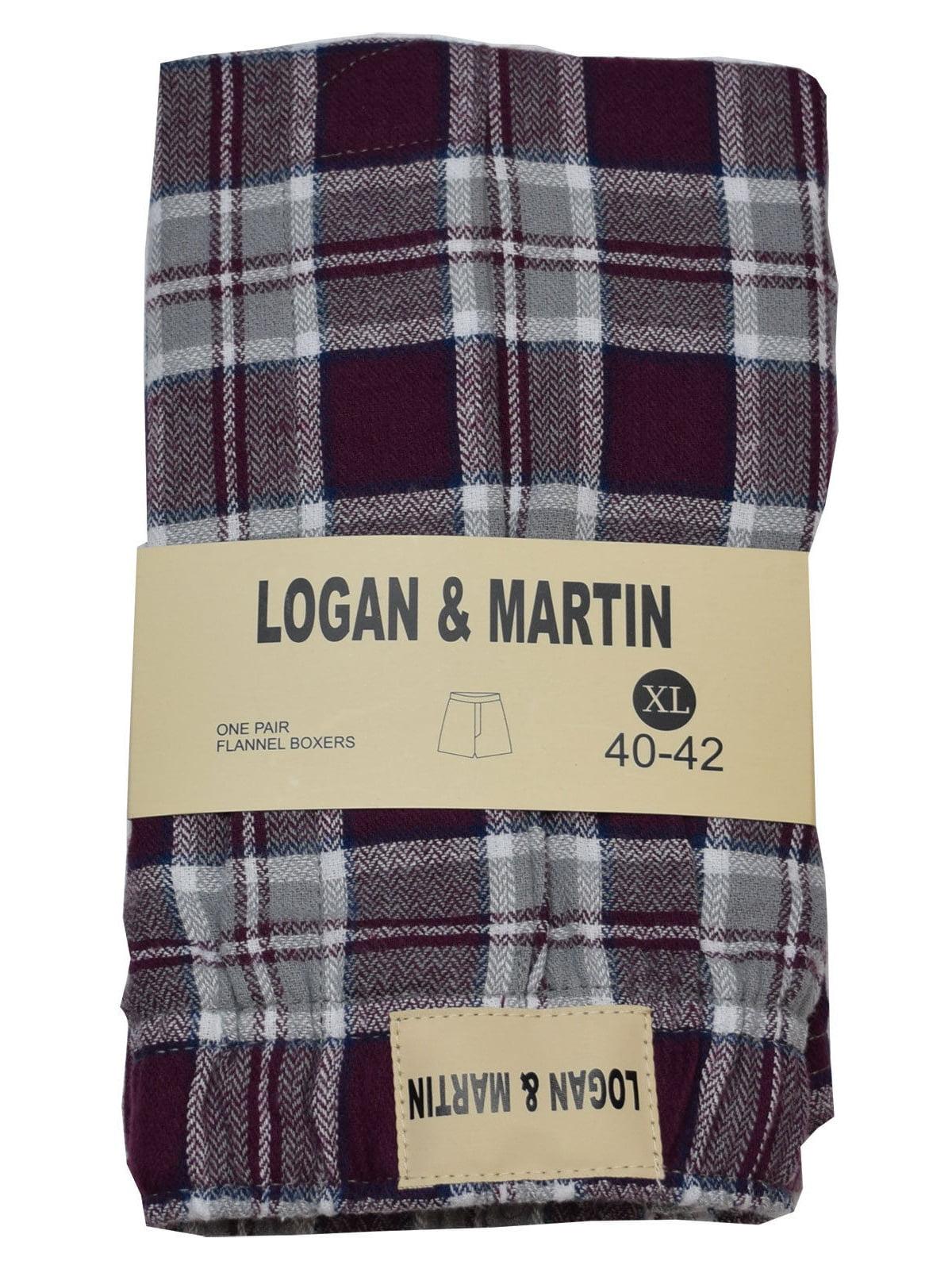 LOGAN & MARTIN MEN'S 100% Cotton FLANNEL BOXERS IN 10 COLORS/STYLES SIZES 40-46