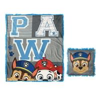 Paw Patrol 2-Piece Kids Decor Pillow and Throw Set, Fun Faux Fur