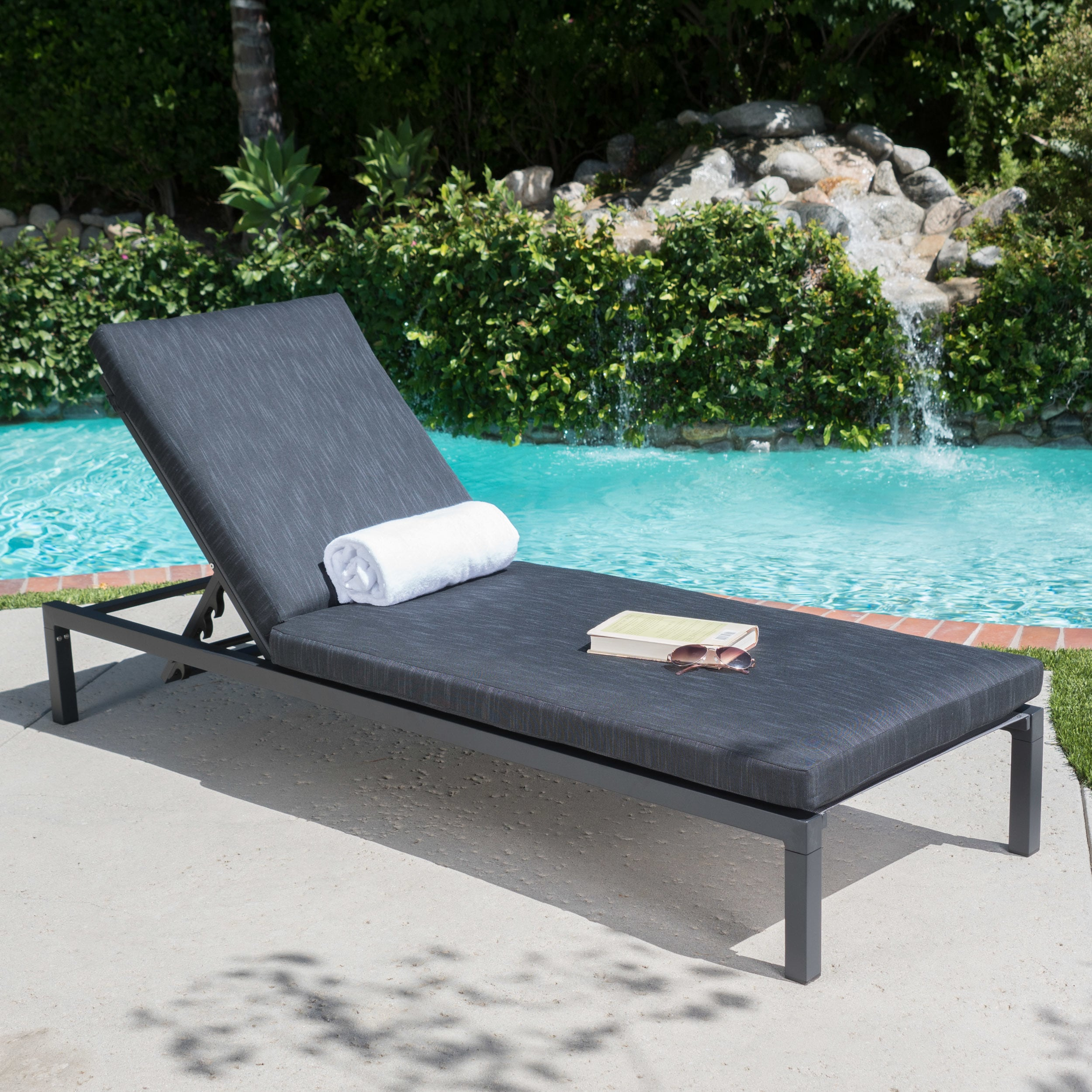 Christopher Knight Home Navan Outdoor Aluminum Chaise Lounge with Cushion by