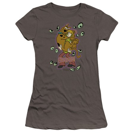 Scooby Doo - Being Watched - Premium Juniors Cap Sleeve Shirt - Small](Domo Suit)
