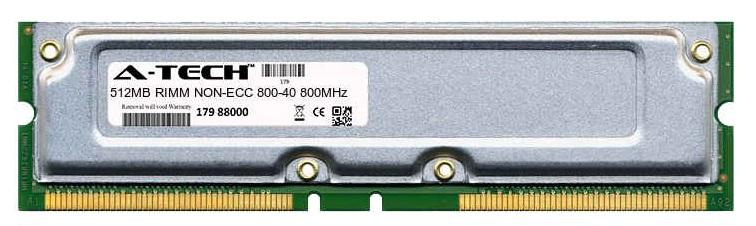 512MB Module 800-40ns 400MHz NON-ECC RD RIMM Desktop 184-pin Memory Ram