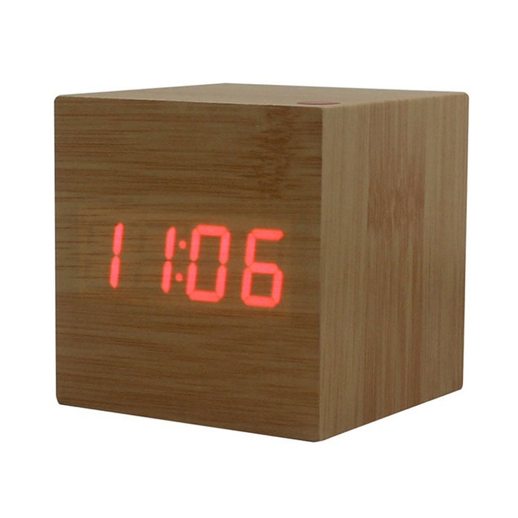 24 Timer Sound sound control wooden square led alarm clock desktop table digital  thermometer timer usb aaa date display