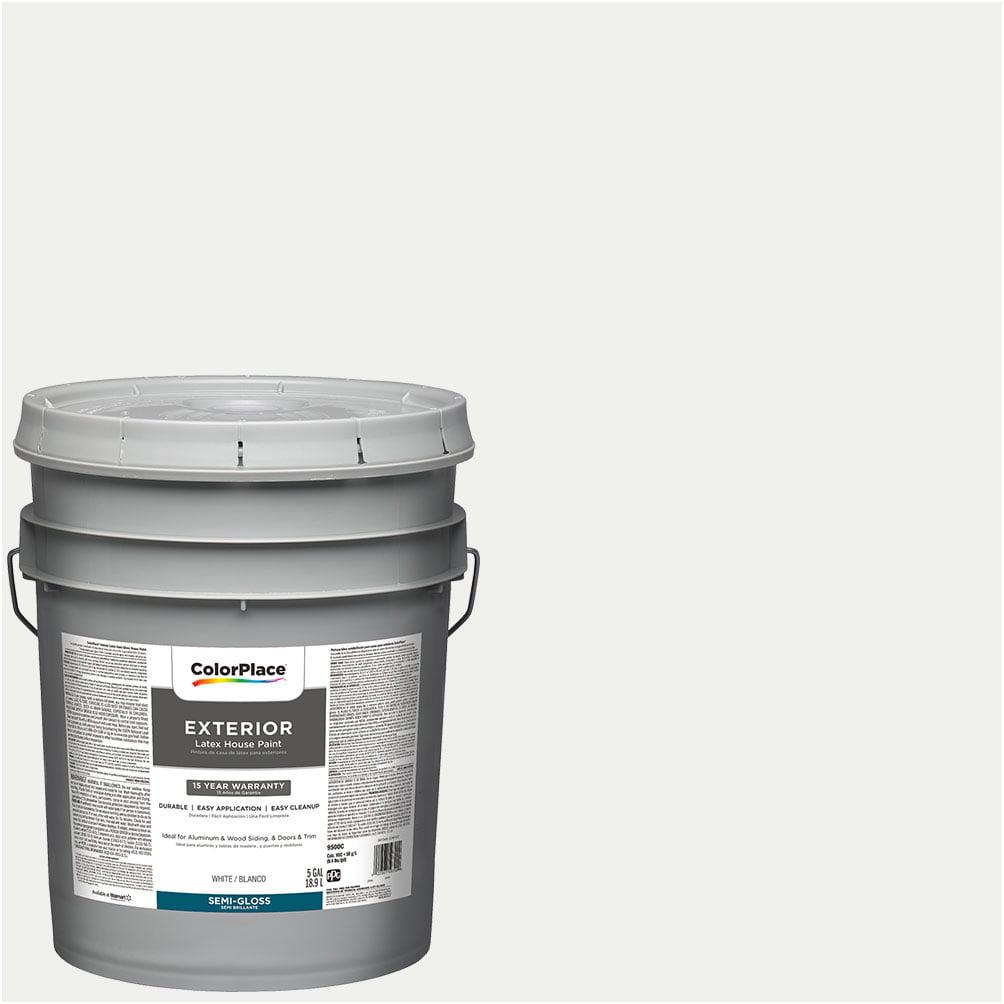 White, ColorPlace Exterior Paint, Semi-Gloss Finish, 5 Gallon