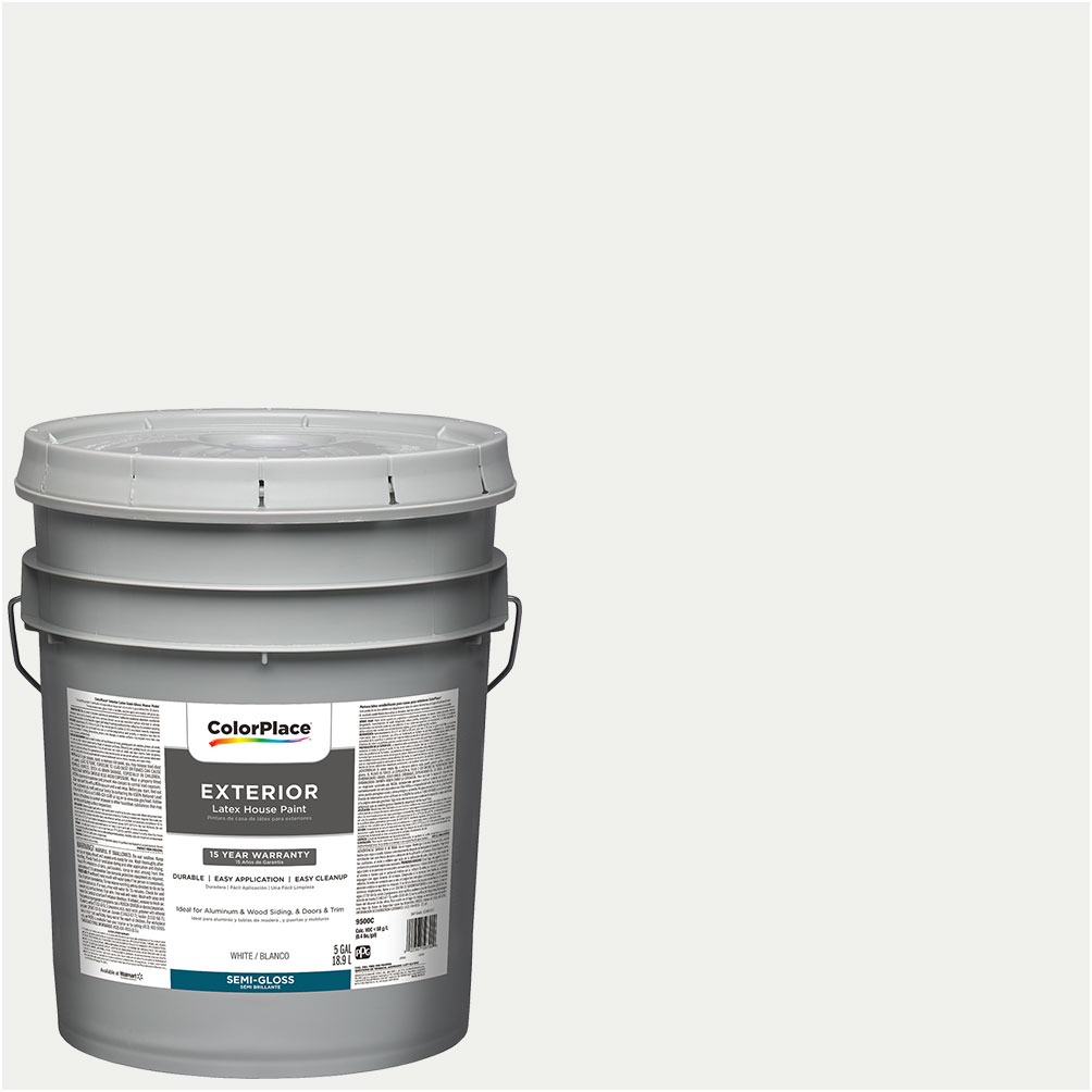 Great ColorPlace Exterior Paint, White, Semi Gloss, 5 Gallon