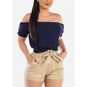 Womens Juniors Off Shoulder Shohrt Sleeve Lightweight Cute Sexy Casual Solid Navy Crochet Trim Crop Top 40826Z