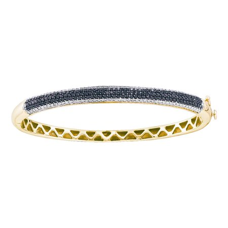 14kt Yellow Gold Womens Round Black Color Enhanced Diamond Bangle Bracelet 1-1/2 Cttw (Black Diamond White Gold Bangles)