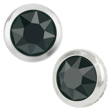 Swarovski Crystal, Hotfix Framed Round Flatback Rhinestone 5.2mm, 12 Pieces, Jet Hematite / Silver