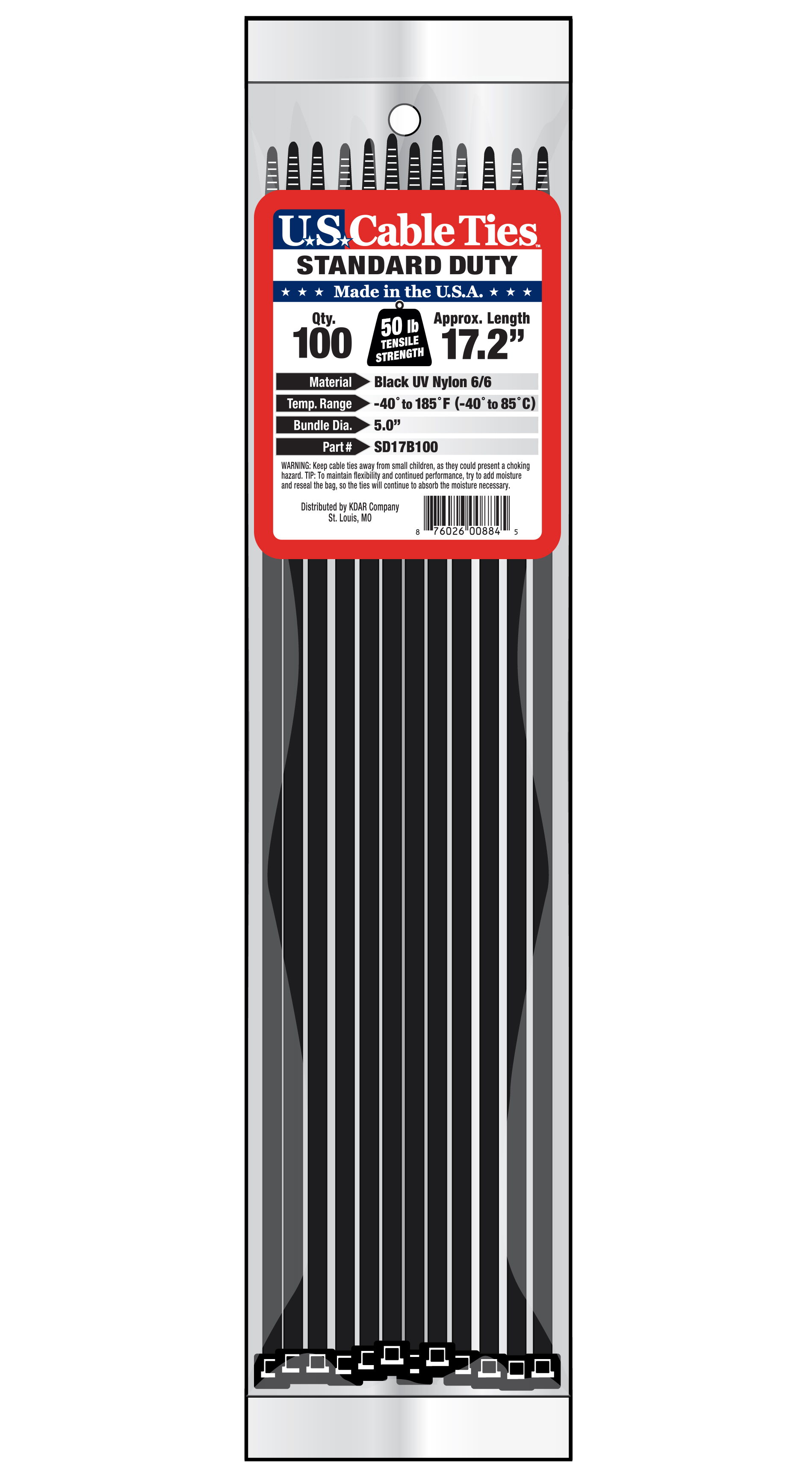 067dcab2f7e4 US Cable Ties SD17B100 17 Inch Standard Duty Cable Ties, UV Black, 100 Pack