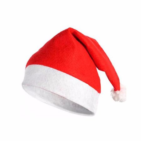 Wideskall® Triditional Red and White Christmas Party Felt Santa Hat - Adult Size