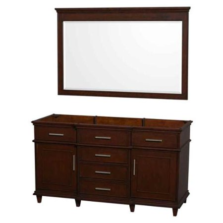 Wyndham Collection Berkeley 60 inch Double Bathroom Vanity in Dark Chestnut with No Countertop and No Sinks and 56 inch Mirror