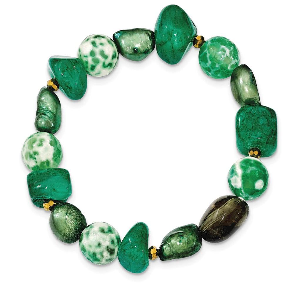 FW Cultured Pearl, Simulated Agate, Crystal, Simulated Ja...