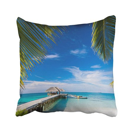 BPBOP Maldives Beach With Beautiful Palm Trees On Tropical Scene Luxury Summer Travel Pillowcase Pillow Cushion Cover 16x16 inches - Tropical Scenes