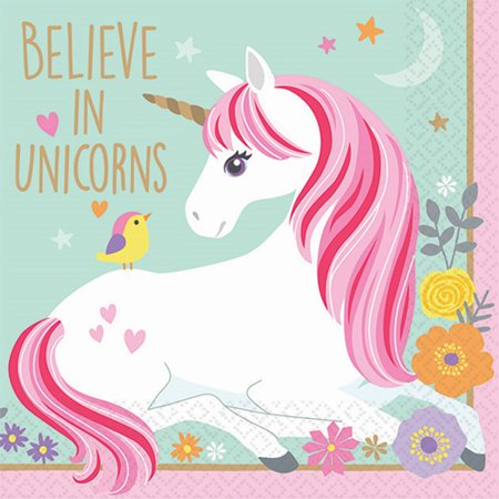 Magical Unicorn Small Napkins (16ct) (Unicorn Birthday Supplies)
