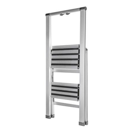 folding two step ultra light aluminum step stool ladder 250 lb load capacity. Black Bedroom Furniture Sets. Home Design Ideas