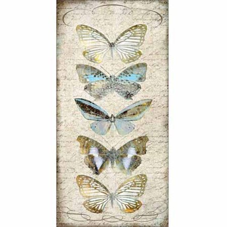 Vintage Butterflies Rustic French Antique Swirls Painting Tan & Blue Canvas Art by Pied Piper - Antique French Art