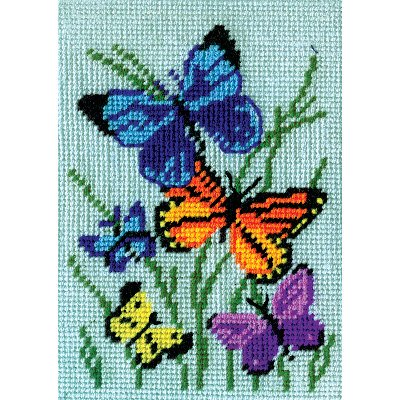 "Butterflies Galore Needlepoint Kit, 5"" x 7"" Stitched In Yarn"