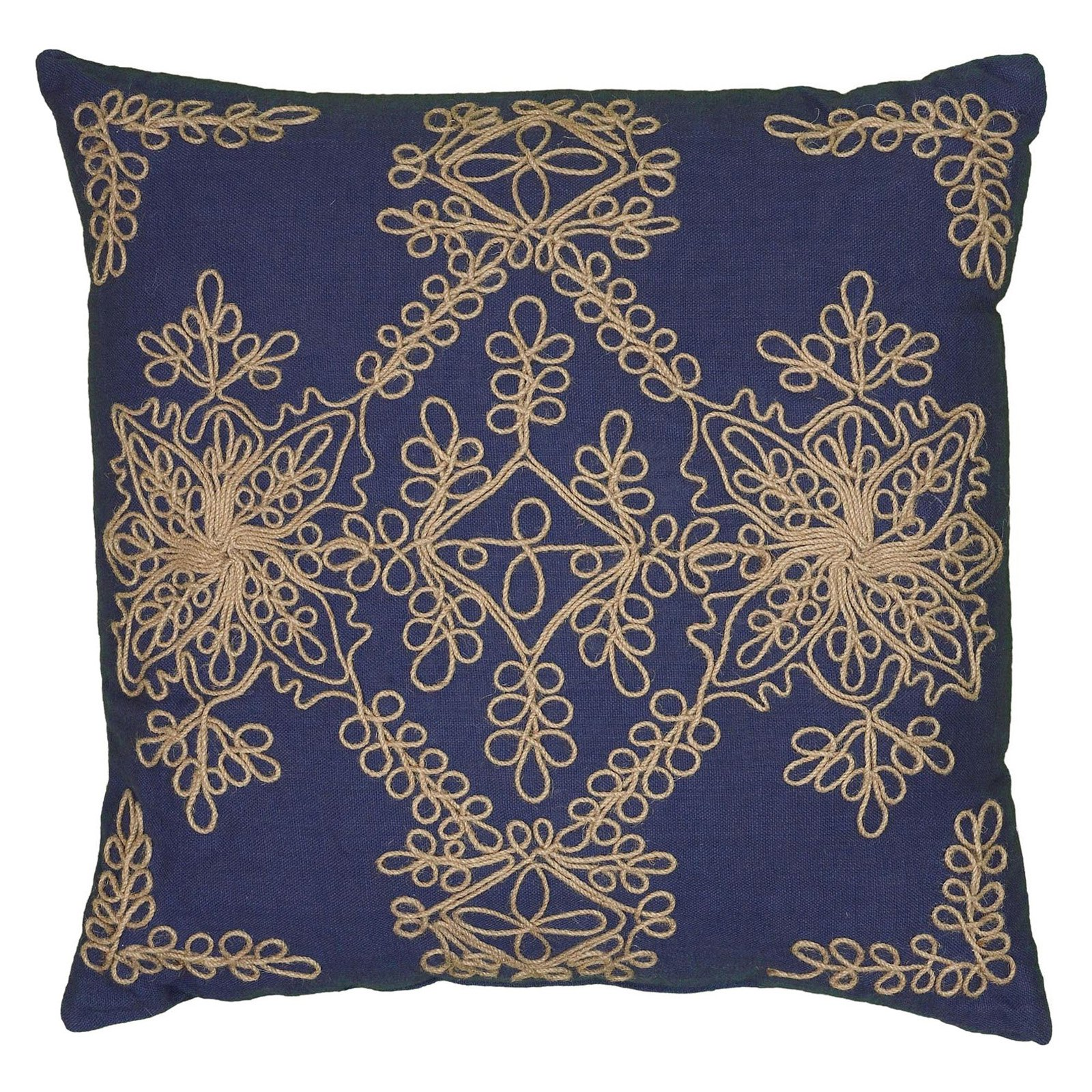 """Rizzy Home Medallion Poly Filled Decorative Throw Pillow, 18"""" x 18"""", Rust"""