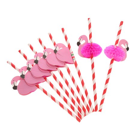 Cute Straws (50pcs/set Cute Food Grade Paper Straws for Birthday Wedding Baby Shower Celebration and Party Multifunctional Straws with Flamingo)