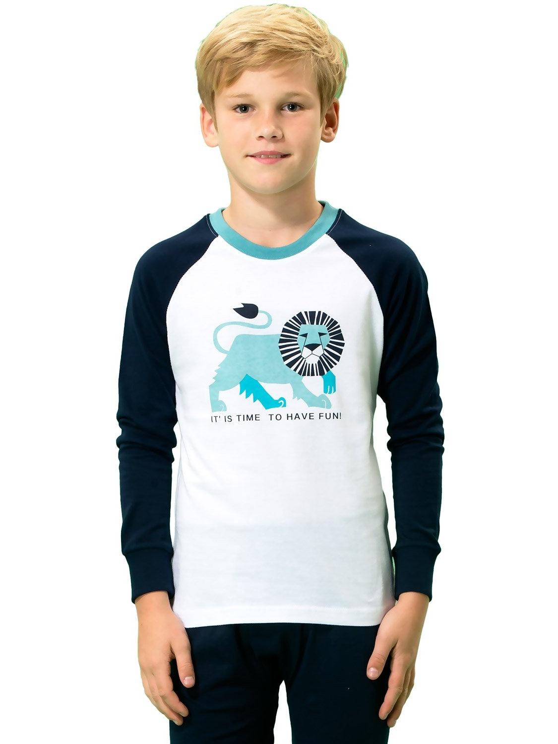 Leo&Lily Boys' Kids' Cotton IReglan Sleeve Printed Pajamas Sets White Navy