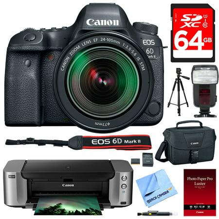 Canon (1897C021) EOS 6D Mark II 26.2MP Full-Frame Digital SLR Camera with EF 24-105mm IS STM Lens + Canon PIXMA PRO-100 Printer $250 Mail-In Rebate Bundle