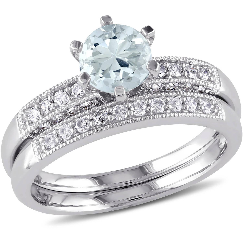 3 4 Carat T.G.W. Aquamarine and 1 3 Carat T.W. Diamond 10kt White Gold Bridal Set by