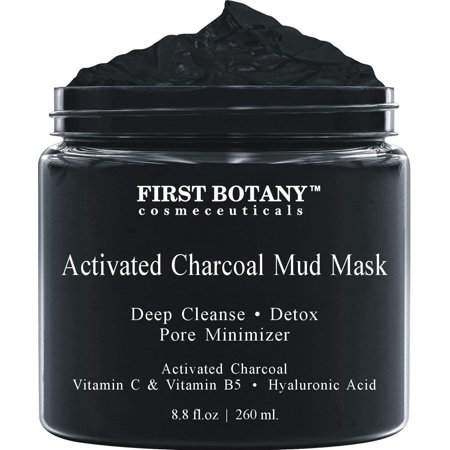 Activated Charcoal Mud Mask 8.8 fl oz. - For Deep Cleansing & Exfoliation, Pore Minimizer & Reduces Wrinkles, Acne Scars, Blackhead Remover & Anti Cellulite Treatment, Face Mask & Facial