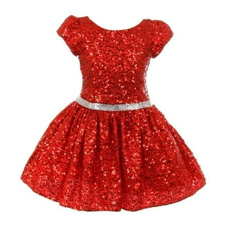 Sequin Embellished Dress - Little Girls Red Sparkle Sequin Embellished Short Sleeved Occasion Dress
