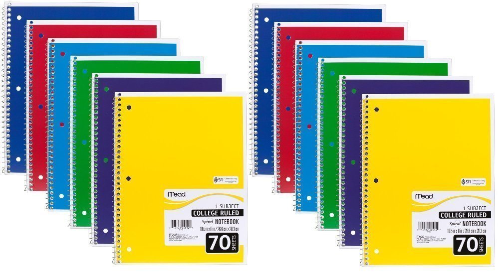Mead Spiral Notebook 6 Pack of 1-Subject College Ruled Spiral Bound Notebooks,