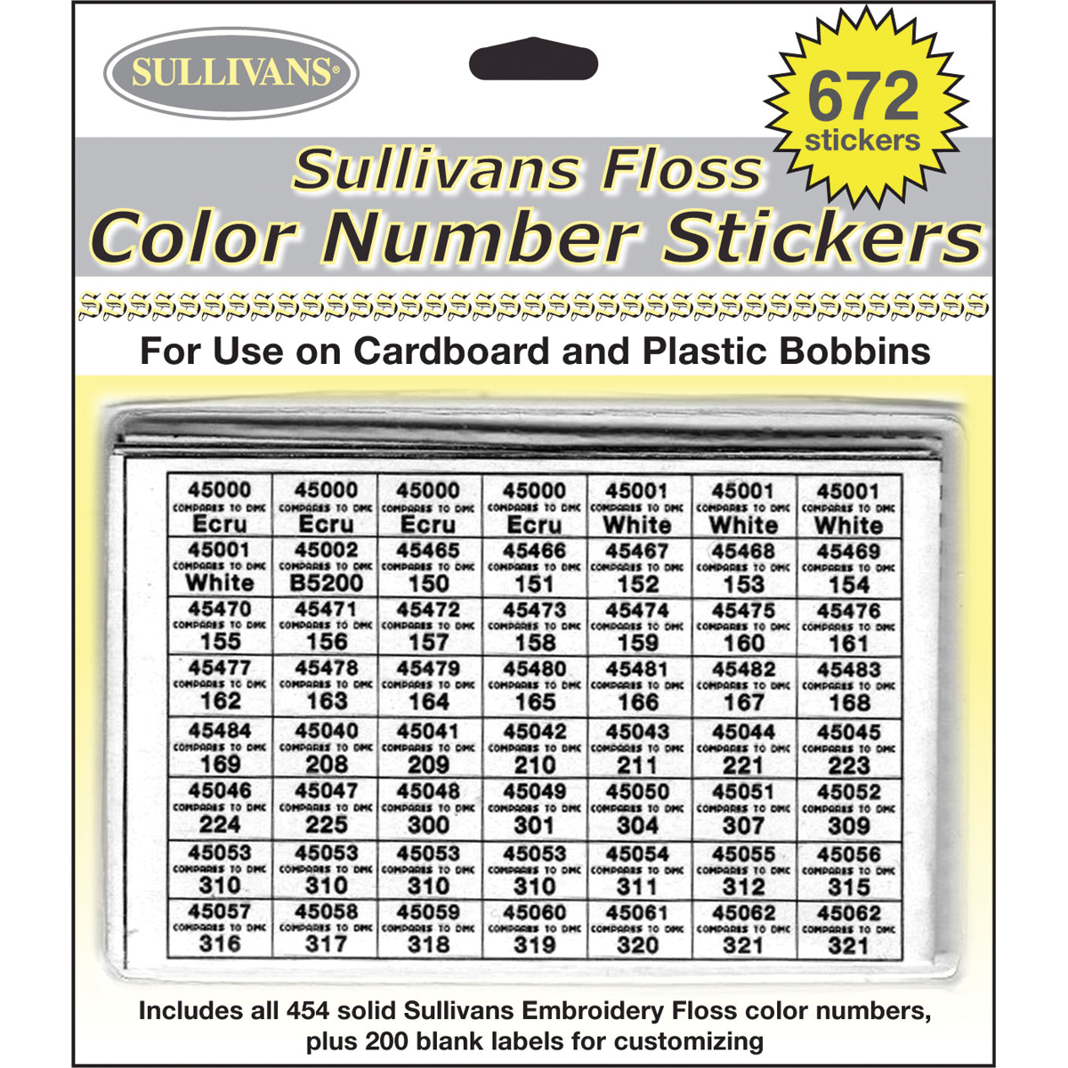 Sullivans Floss Color Number Stickers-672 Stickers