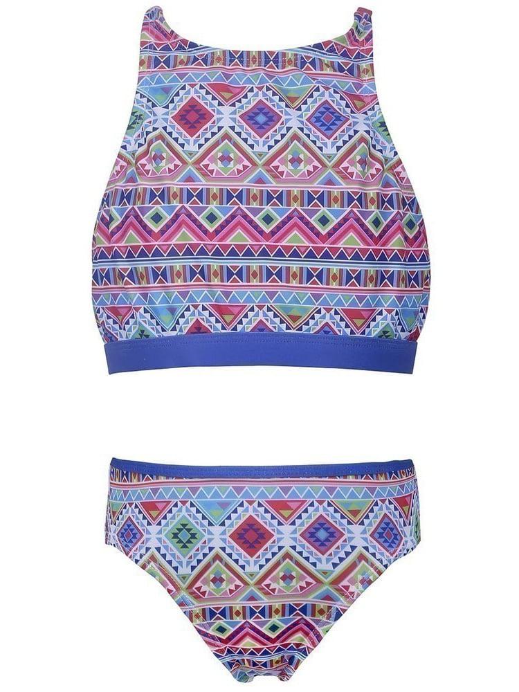 Sun Emporium Girls Blue Pink Tribal Geo Print Halter Top Bikini Set