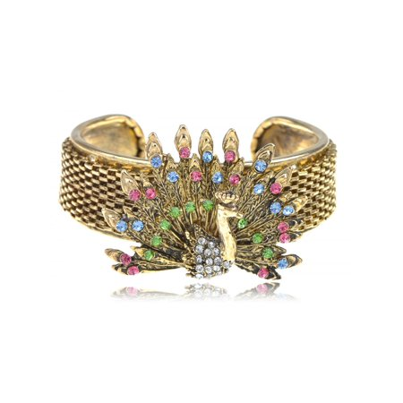 Antique Inspired Golden Crystal Rhinestone Peacock Bird Fashion Bracelet Cuff