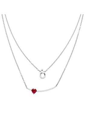 25c110140 Product Image 1 1/4 ct Created Ruby & White Sapphire Mother & Child Layered  Necklace in