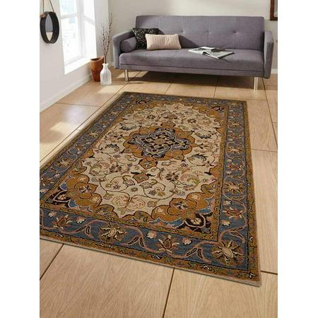 Rugsotic Carpets Hand Tufted Wool 4'x6' Area Rug Oriental Cream Light Blue K01247 ()