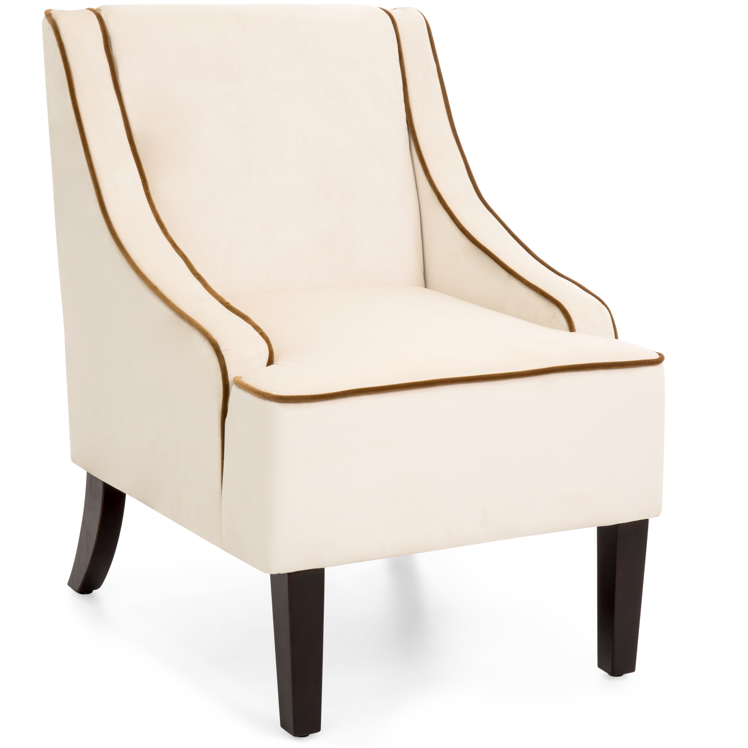 Best Choice Products Microfiber Accent Chair w/ Tapered Wood Legs (Beige)