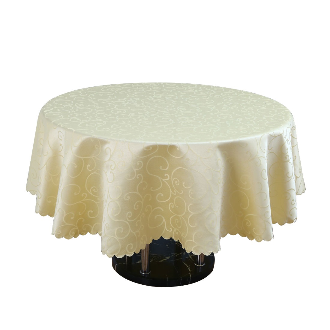 "Polyester Round Flower Pattern Tablecloth Water Stain Resistant Yellow 71"" Dia - image 4 of 4"