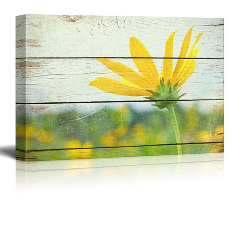 wall26 Bright Yellow Flower on Farm - Rustic Floral Arrangements - Pastels Colorful Beautiful - Wood Grain Antique - Canvas Art Home Decor - 32x48 inches