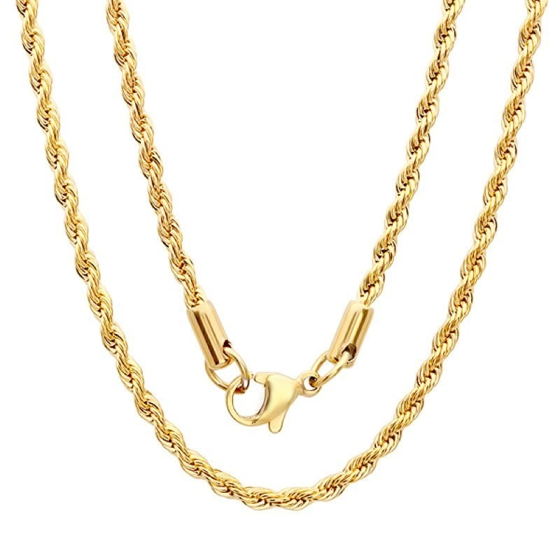 Steeltime  Men's Gold Tone Rope Chain Necklace