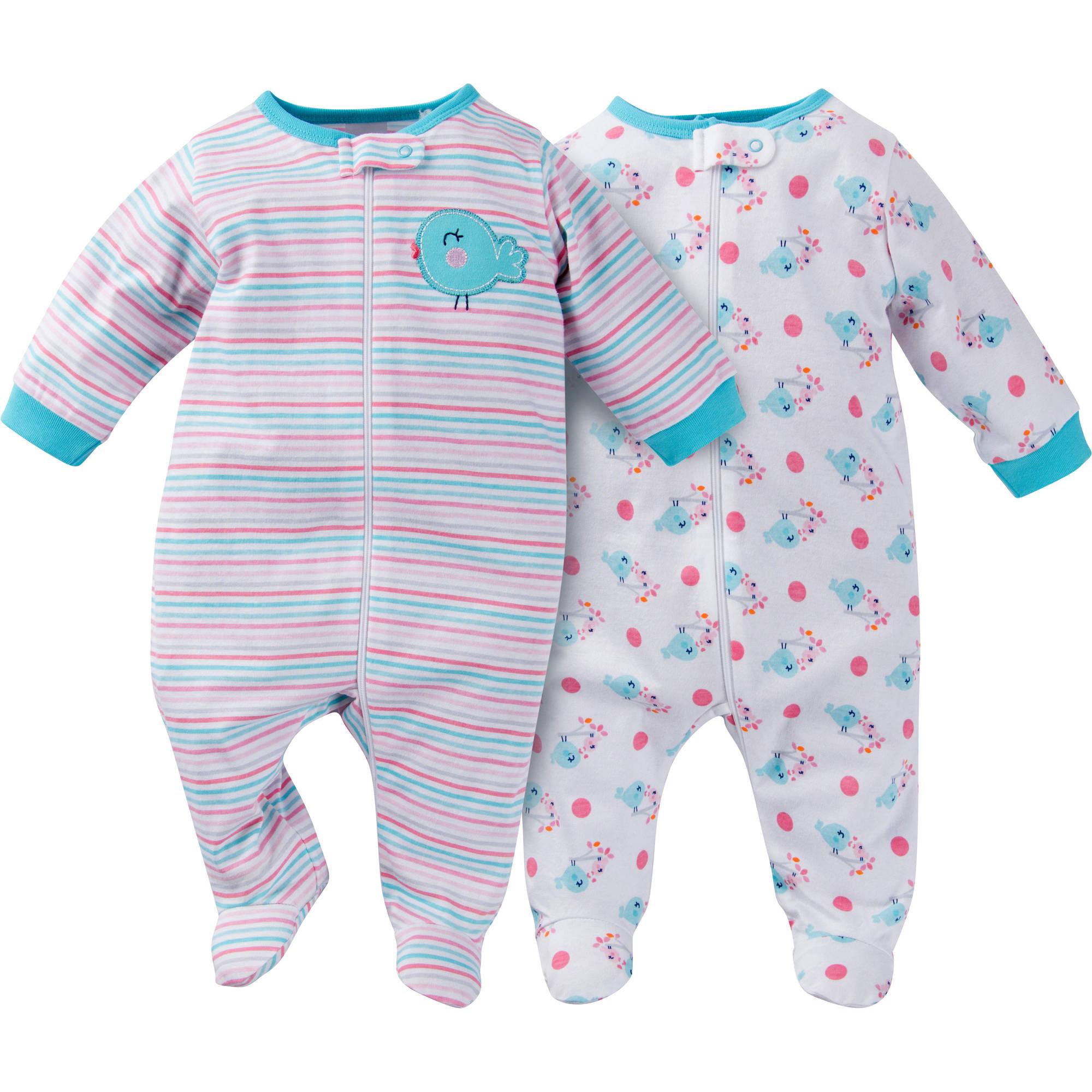 Newborn Baby Girl Zip Front Sleep N Plays 2 Pack Walmart Com
