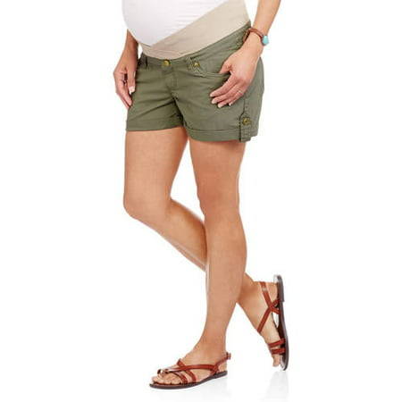 Maternity Underbelly Stretch Poplin Shorts - Available in Plus (Stretch Poplin Belted Shorts)