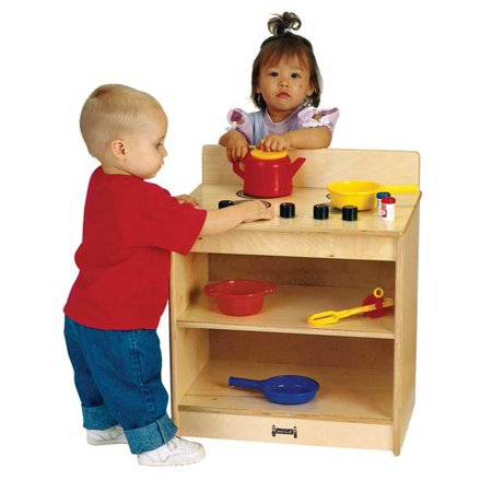 Jonti Craft Wooden Stove Toddler Toy w Shelves and Working Knobs