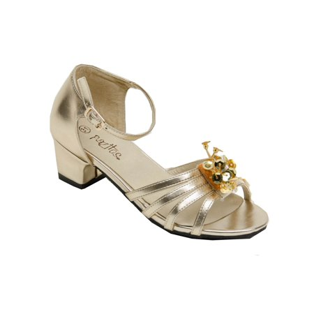 Pazitos Girls Gold Star Dust Beaded Applique Kitten Heel Sandals