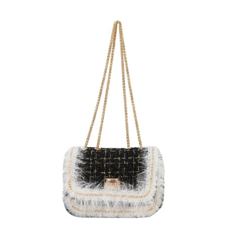 Diophy  Tweed Turn Lock Flap Corss Body Handbag with Faux Fur and Chain Edging Decoration Flap Lock Bags