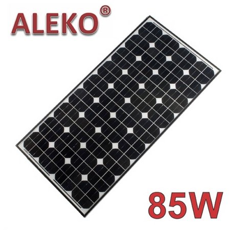 ALEKO Solar Panel Monocrystalline 85W for any DC 12V Application (gate opener, portable charging system, etc.)