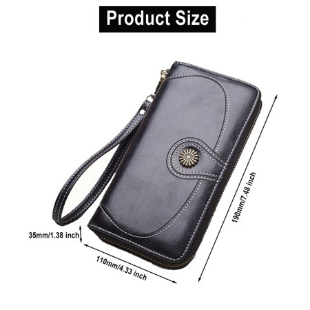 928c34f29d4b Women Large Capacity PU Leather Wallet Coin Purse Card Case Cell ...