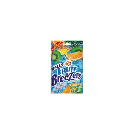 - 5 Pack Halls Fruit Breezers Pectin Throat Drops Tropical Chill 25 Count Each