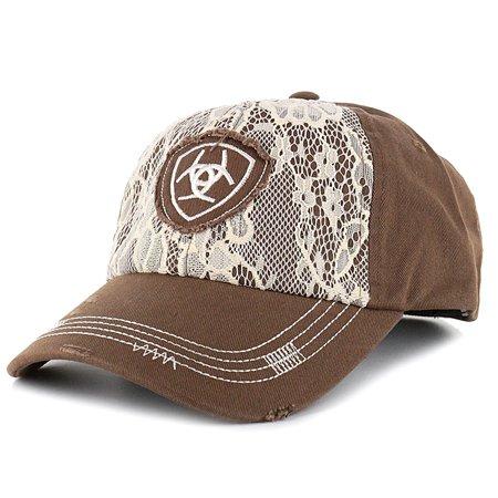 45ee4355102a4 M F WESTERN - ARIAT WOMENS ADJUSTABLE LOGO   LACE OVERLAY COTTON BASEBALL  CAP BROWN - Walmart.com