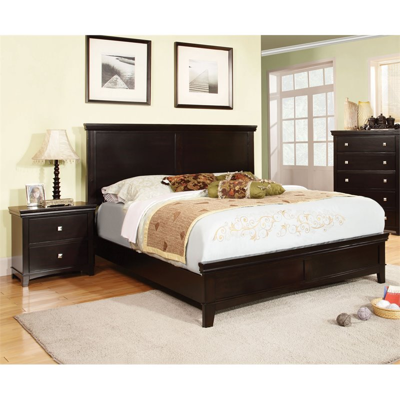 Furniture of America Fanquite 2 Piece King Bedroom Set in Espresso