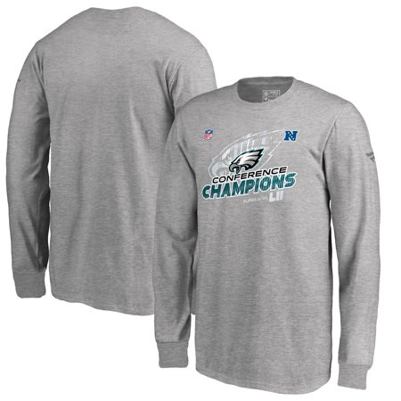 Philadelphia Eagles NFL Pro Line by Fanatics Branded Youth 2017 NFC Champions Trophy Collection Locker Room Long Sleeve T-Shirt - Heather Gray