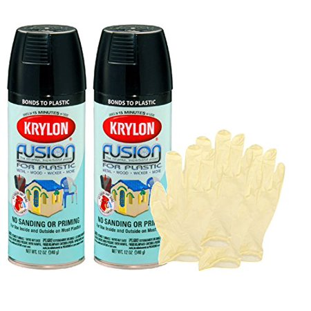 Krylon Fusion Gloss Black Spray Paint For Plastic 12 Oz Bundle With Latext Gloves 6 Items